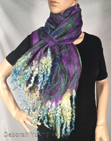 Cobweb felted scarf. Merino wool, silk fibers, wool yarn, mohair locks.