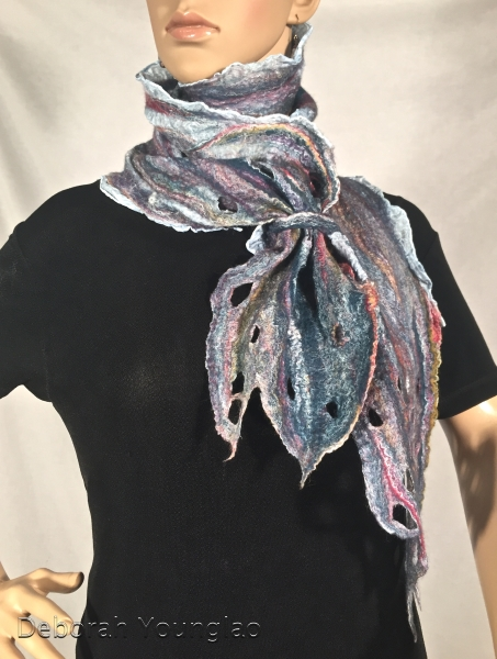 Nuno felted scarf. Merino wool, silk fibers, on paj silk.