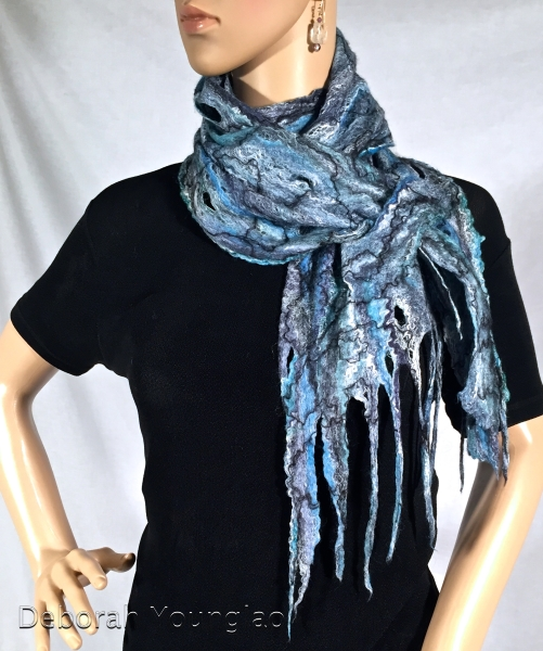 Cobweb felted scarf. Merino wool, silk fibers, wool yarn.
