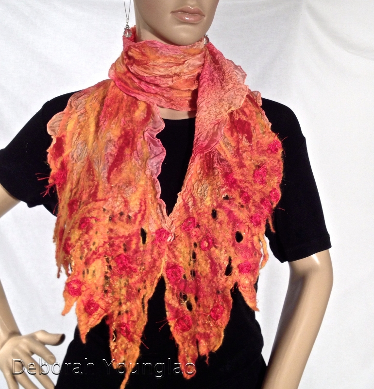 Nuno felted scarf. Merino wool, silk fibers, nylon yarn, on paj silk.