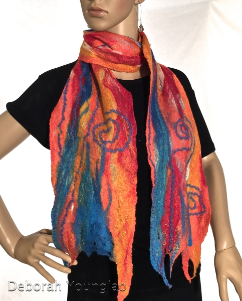 Nuno felted scarf. Merino wool, wool yarn; on silk gauze.