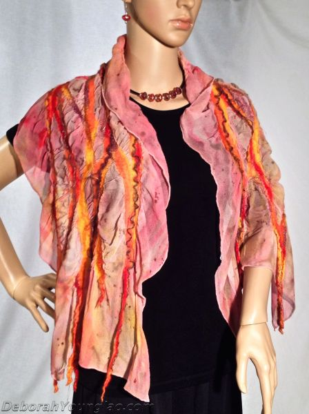 Nuno felted scarf.. Merino wool, silk fibers, wool yarn, synthetic yarn, hand painted silk chiffon.