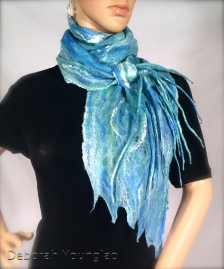 Cobweb felted scarf. Merino wool, silk fibers.