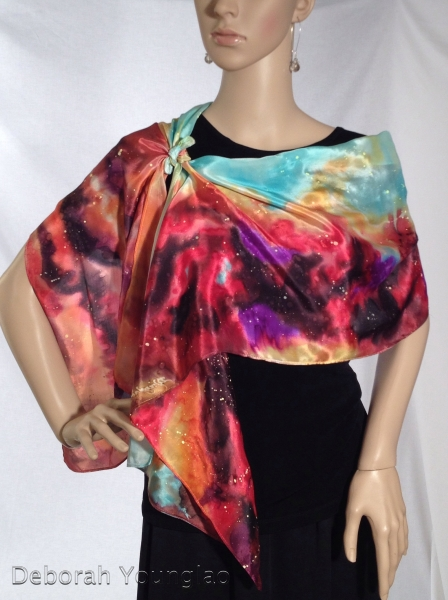 Hand painted silk satin scarf