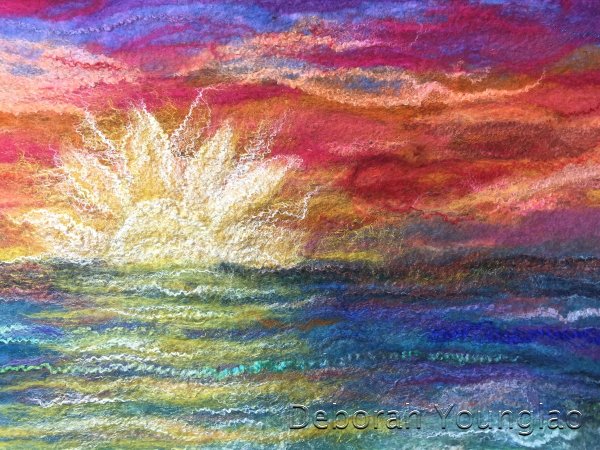Detail of felted shawl, sunset. Merino wool, silk fiber, firestar nylon fiber, sari silk threads, silk hankies.