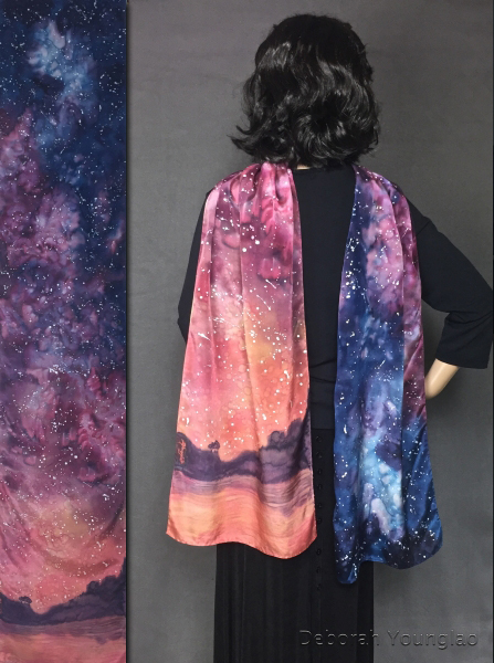 Hand painted silk scarf: starry night sky