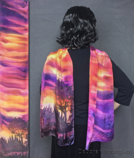 Hand painted silk scarf: sunset