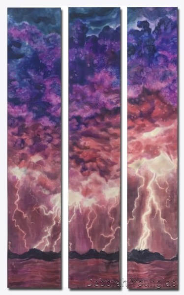 'Storm at Sunset',  triptych of 12 x 60 in. scarves