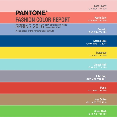 pantone Spring 2016 Color forecast