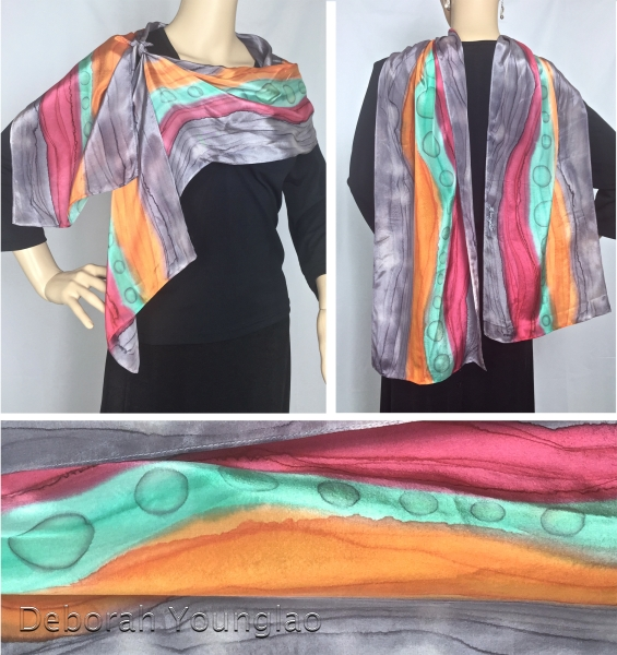 "Gray was never a color on my palette until fairly recently. Now I love it as a balance to my bright colors! I added just a touch of cool purple to a neutral gray to make my version of Pantone's ""Lilac Gray"". It's a wonderful offset to the warm orange and red in this scarf."