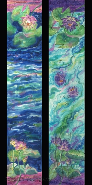 hand painted  scarves water lilies