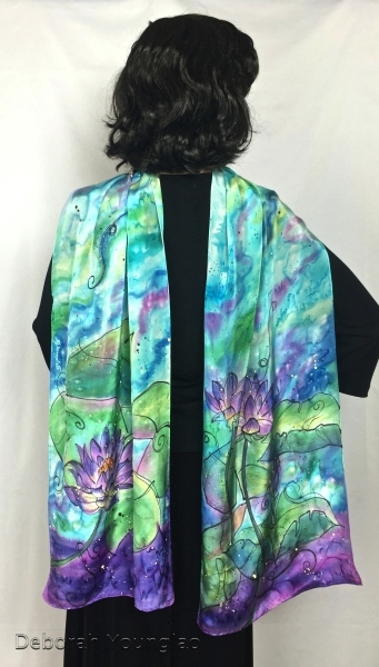Water lilies hand painted silk scarf