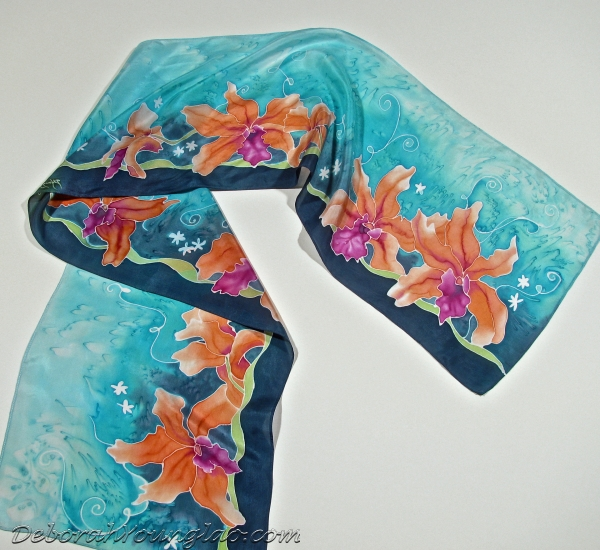 Orchids hand painted silk scarf