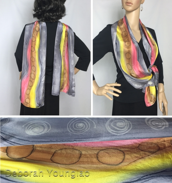 hand painted silk scarf stripes