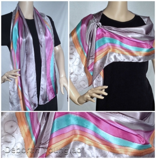 hand paintes silk scarf stripes