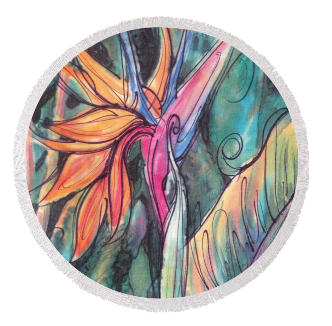 Round beach towel with Tropical Flower art by Deborah Younglao