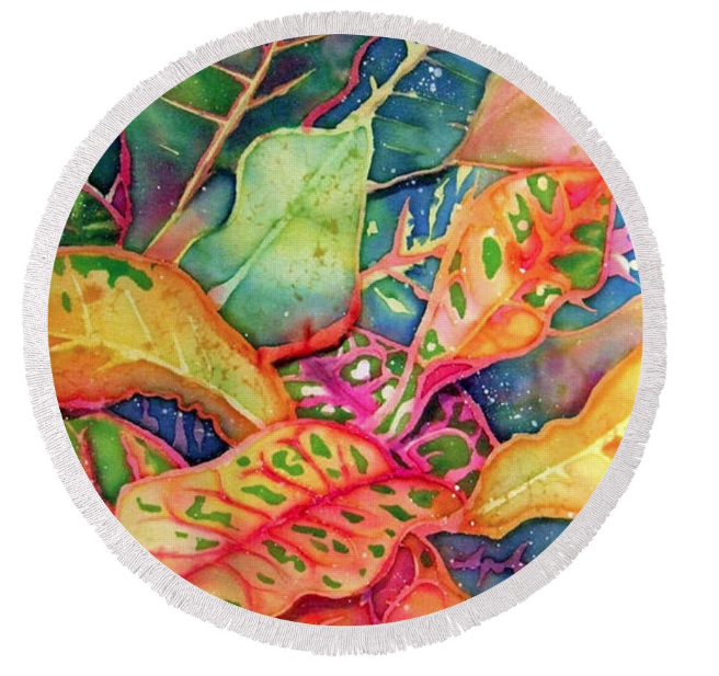 Round beach towel with Tropical Foliage art by Deborah Younglao