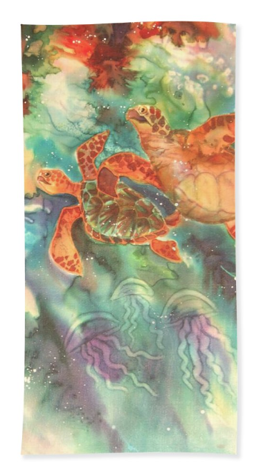 Beach towel with Underwater Turtle art by Deborah Younglao
