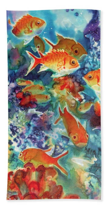 Beach towel with Underwater art by Deborah Younglao
