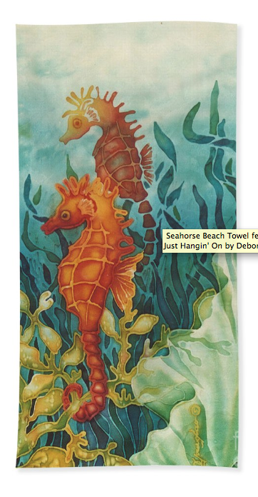 Beach towel with Seahorse art by Deborah Younglao