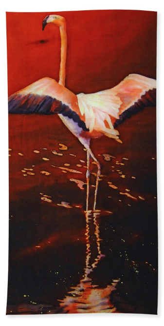 Beach towel with Flamingo art by Deborah Younglao