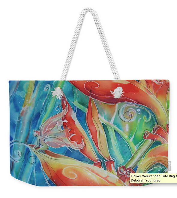 Tote bag with Tropical Flower and Fairy art by Deborah Younglao