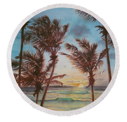 Round beach towel with Seascape art by Deborah Younglao
