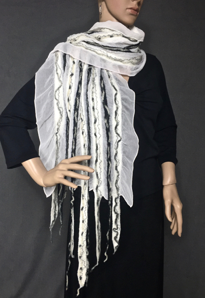 Black and white wool, grey yarn, felted to white silk chiffon