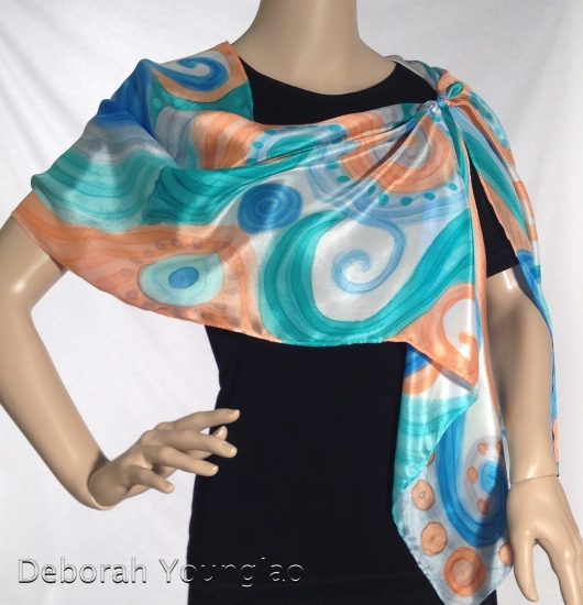 Hand painted silk scarf | Deborah Younglao