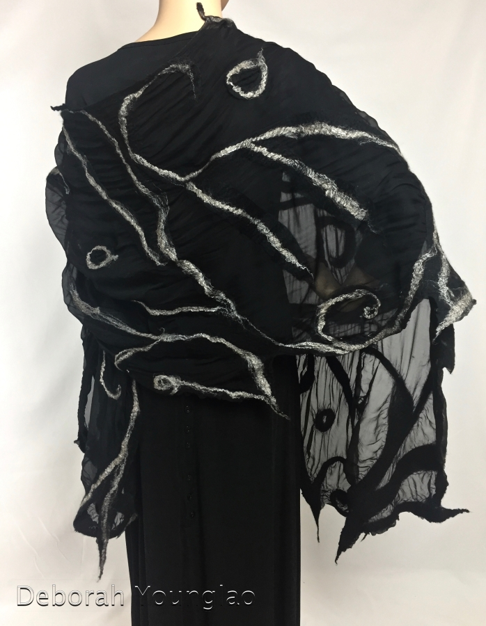 Large nuno felt shawl black and champagne | Deborah Younglao