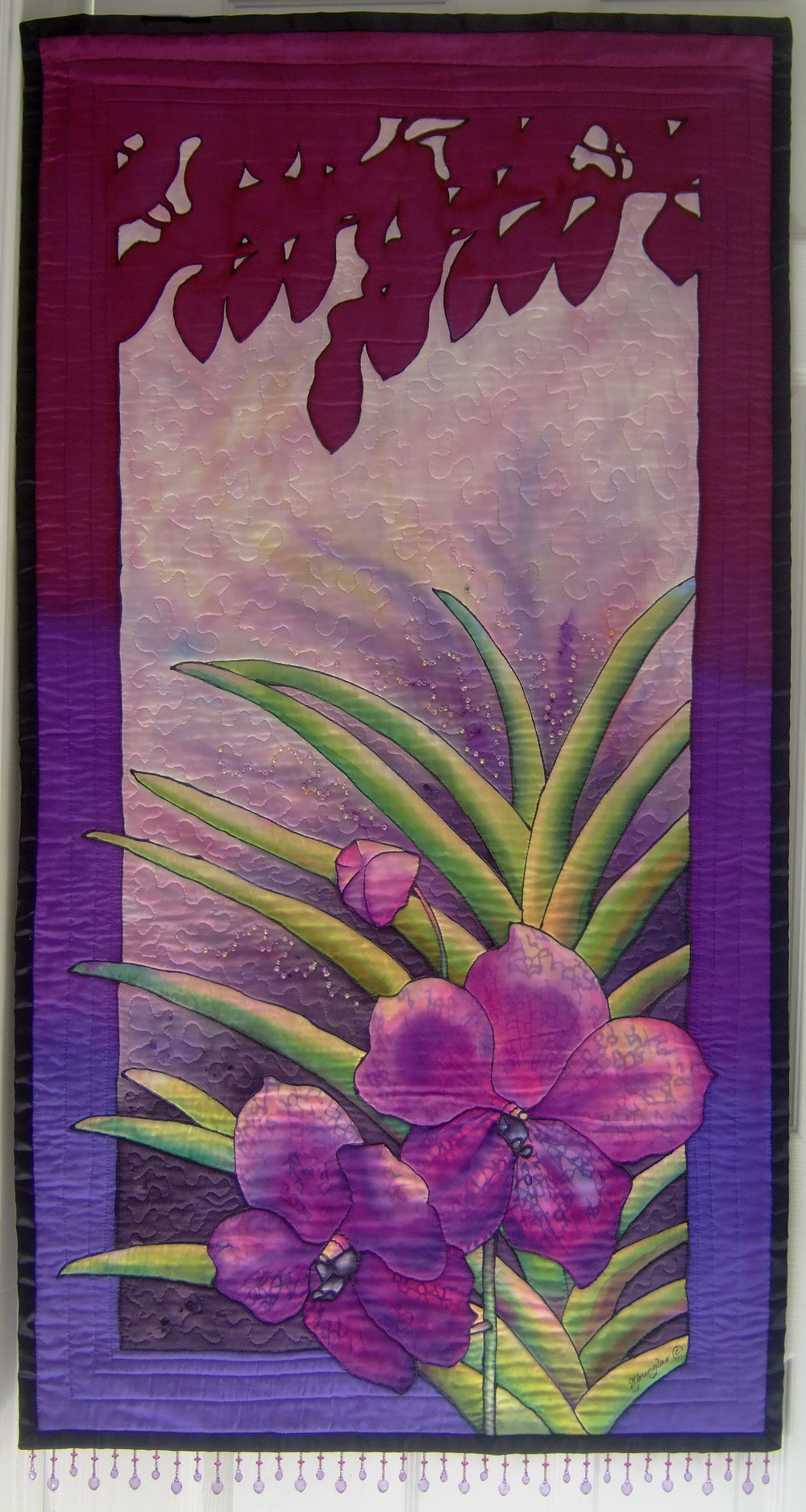 'Vanda Delight', 47 x 26 in. Quilted painting