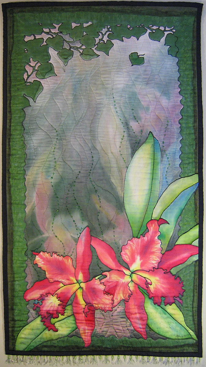 'Orchids in the Mist', 47 x 26 in. Quilted painting