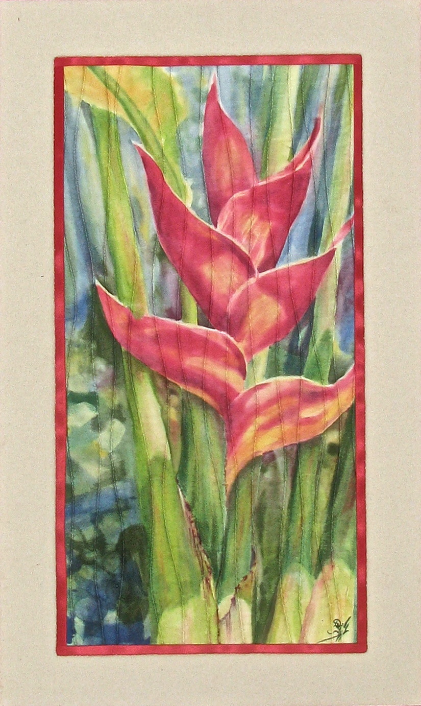 'Red Heliconia', 20 x 10 in. Quilted painting