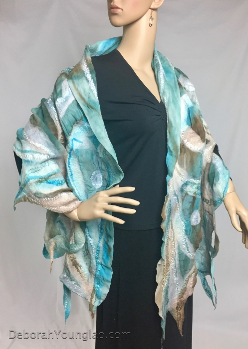 Nuno felted silk and wool shawl, turquoise blue | Deborah Younglao