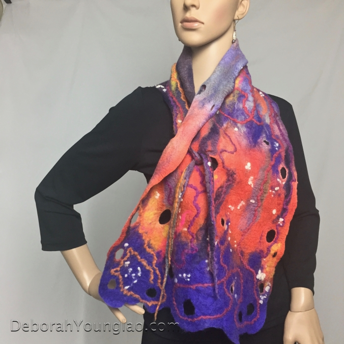 Felted wool collar scarf, orange, purple | Deborah Younglao
