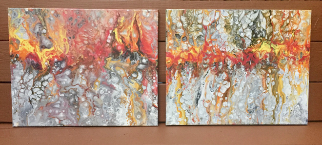 "Fluid Acrylic diptych ""You Make my Heart Beat"", 16 x 40 in."