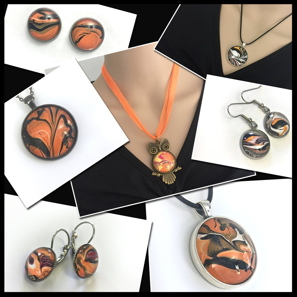 Some of my new Hand Painted Acrylic Jewelry. More in the  Halloween Bling Shop !