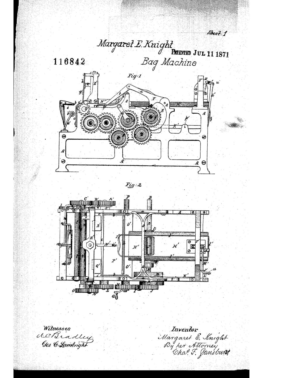 A drawing of Margaret Knight's bag machine.  Image credit: United States Patent and Trademark Office, Public Domain
