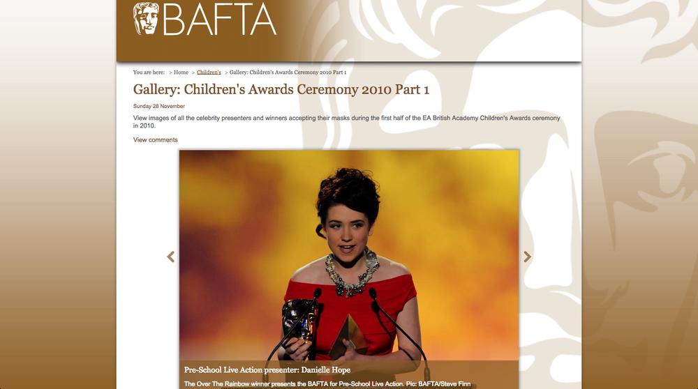 Bafta Awards. Danielle Hope. 2010