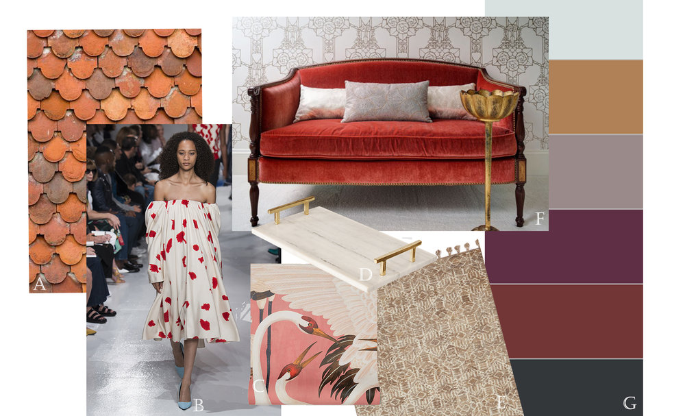 A. doctorkish.com  B. Calvin Klein Spring Ready To Wear  C. Gucci Heron Print Wallpaper  D. Worlds Away Lincoln BR (Available at Luxe)  E. Loloi Teresa Collection Rug  F. Designer Melissa Lewis says this cozy couch is a perfect example of fashion trends in the home.   PHOTO: ERIC HAUSMAN  G. Benjamin Moore 2017 Color Trends