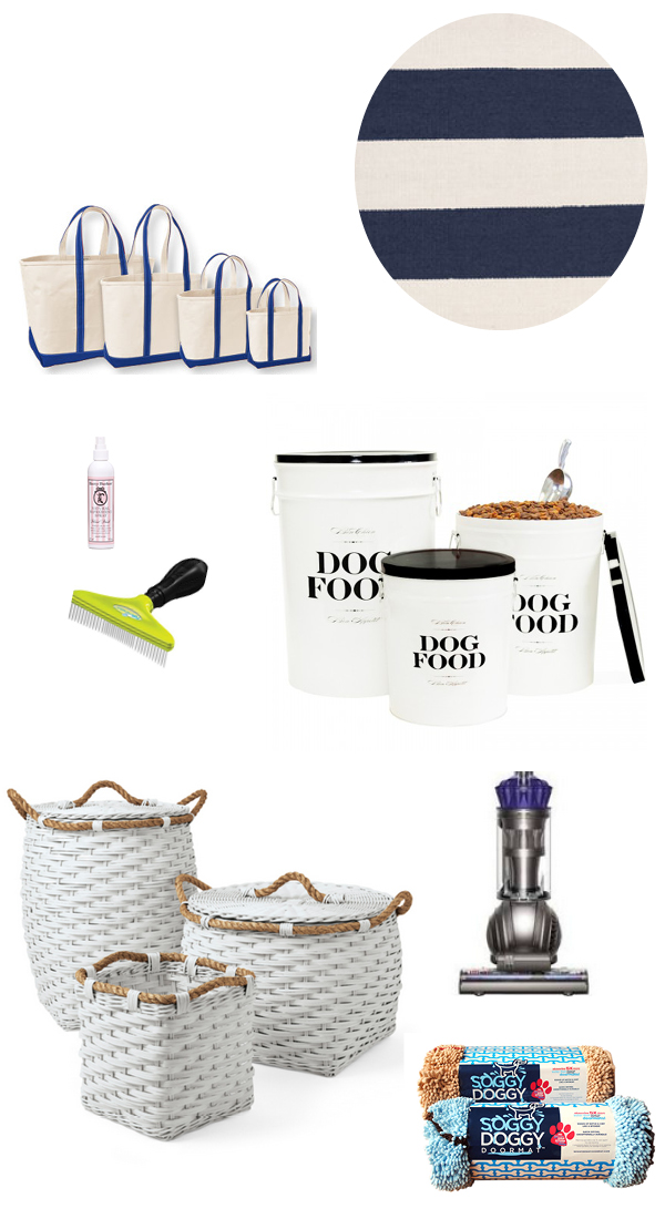 TOTES: LL Bean | RUG: Dash & Albert |  PERFUME: Harry & Barker | COMB: Furminator | FOOD BINS: Harry Barker | BASKETS: Serena & Lily | VACUUM: Dyson | TOWELS: Soggy Doggy