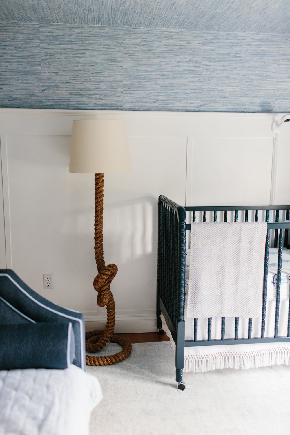 Nautical Nursery Boys Bedroom Blue Wallpaper by Abby Capalbo | Photography: Erin McGinn