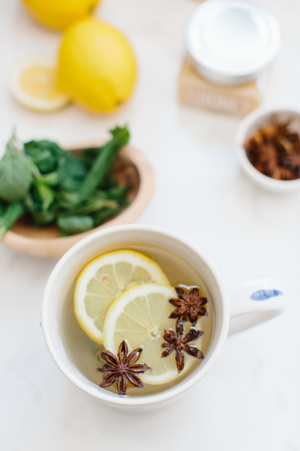 The Almost Healthy Winter Elixir Cocktail Ginger Mint Tea Lemon Honey by Abby Capalbo | Photography: Erin McGinn