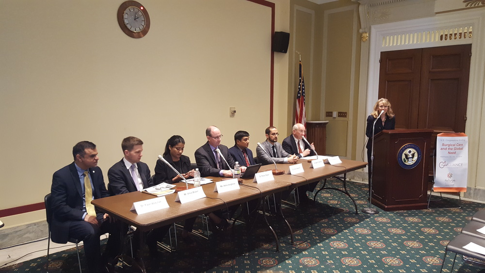 Sara Anderson (ReSurge International) welcomes attendees to the 2nd Congressional Briefing on Surgical Care.