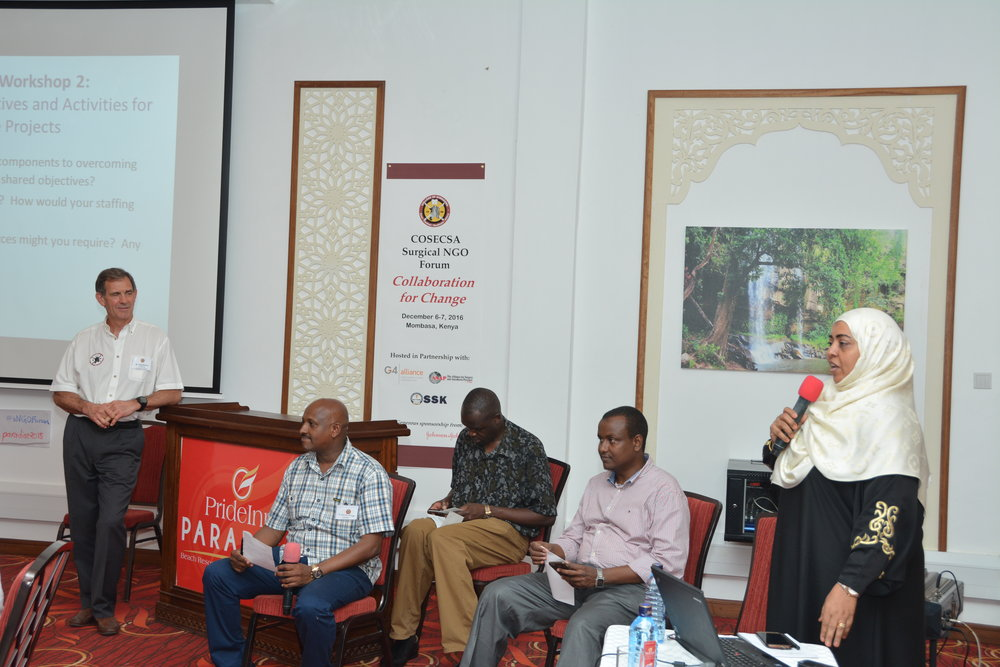 ( From left to right) Dr. Khadija Shikely, Chief Officer of Health, Mombasa County; Hon. Dr. Abdi Ibrahim, Chief Executive Officer of Health, Mombassa County; Dr. Kristeen O. Awori, President, Surgical Society of Kenya; Dr. Abdullahi Kimogol, WAHA International; Mr. Denis Robson, COSECSA Council and Board of Directors, Fistula Foundation    COSECSA sNGO Forum, Mombasa, Kenya, 2016; Photography by: KEN