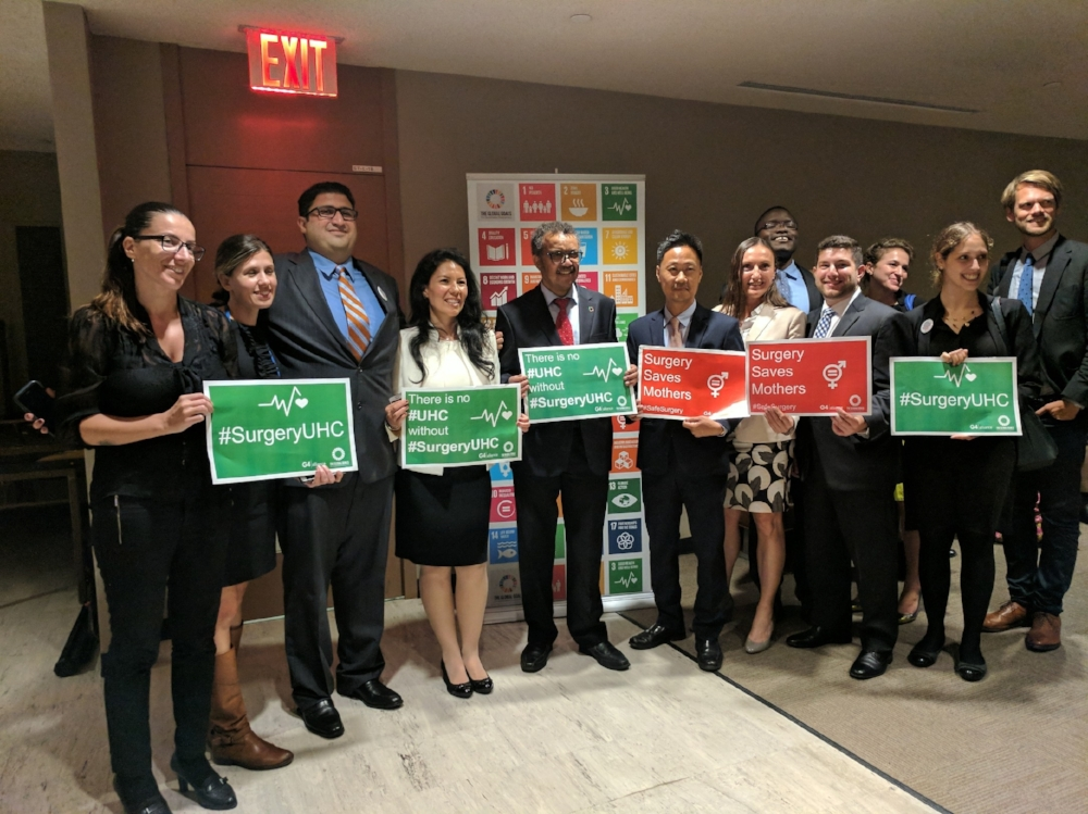 The G4 Alliance, partners, and Dr. Tedros standing for #SurgeryUHC at UNGA 72!