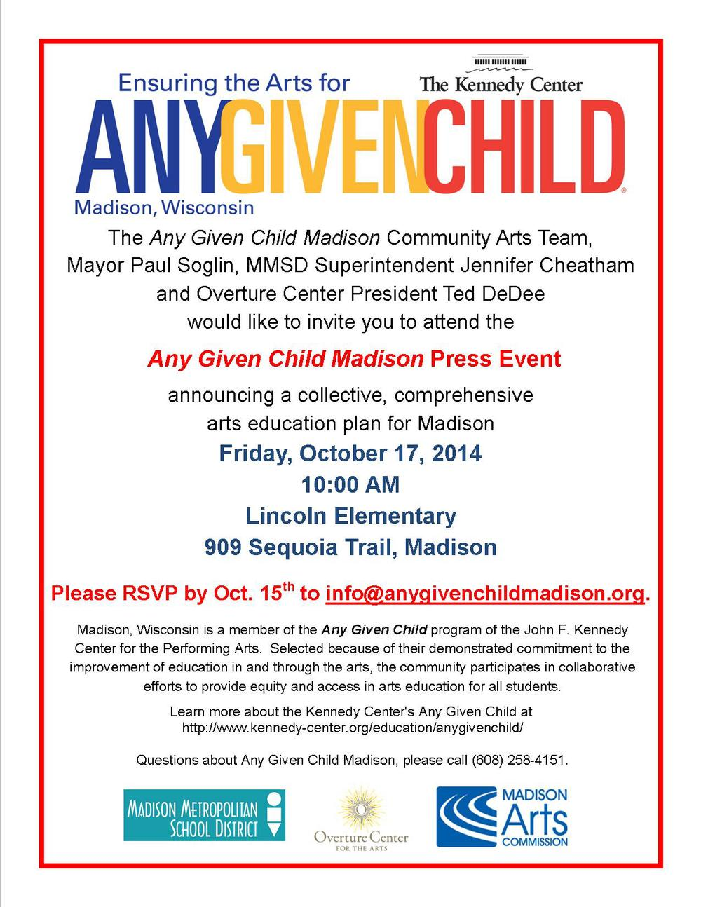Any Given Child Madison Press Conference Invitation