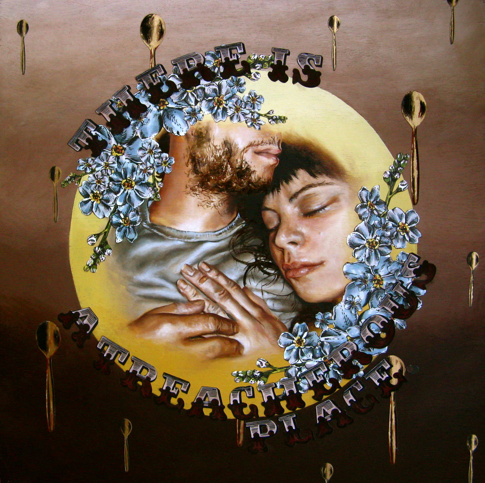 ThereIsATreacherousPlace There is a Treacherous Place  Oil, Acrylic, Goldleaf, and Archival Paper on Wooden Panel, 18x18in., 2010.JPG