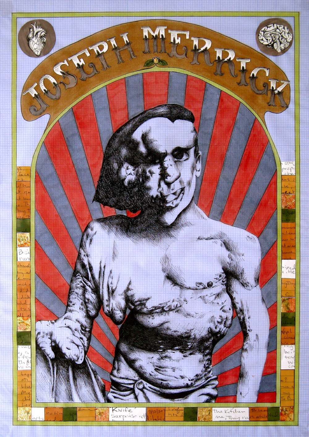 Joseph Merrick  2010  Prismacolor marker, micron and pressed goldleaf on graph vellum  17 x 24in.JPG