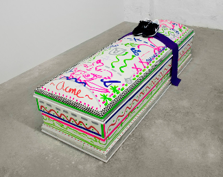 Goodbye Cruel World, 2014  Wood, mdf, paint, tape, silk, Nike shoes, tinfoil  $5,800 clean1.png